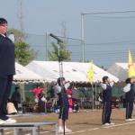 阿字ヶ浦中学校の生徒がお手伝い元気に準備体操